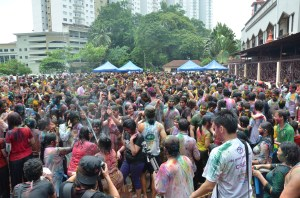 Crowd during Holi Festival in Malaysia