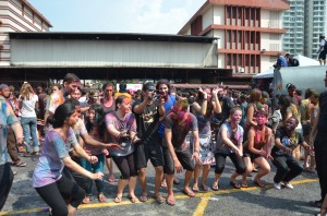 Dancing Tunak Tunak during Holi Festival in Malaysia